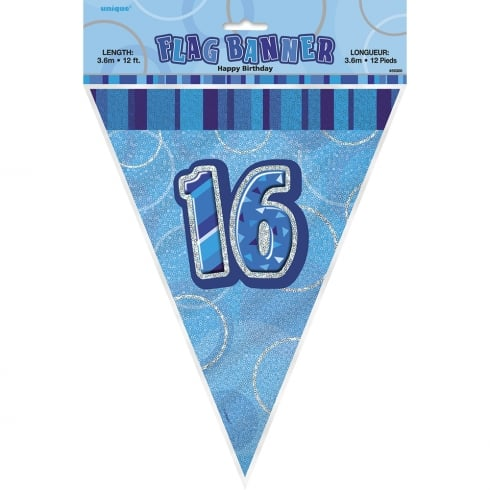 Unique Party UK Blue Glitz 16 Flag Banner 12 ft