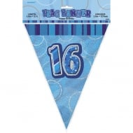 Blue Glitz 16 Flag Banner 12 ft