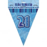 Blue Glitz 21 Flag Banner 12 ft