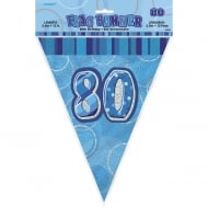 Blue Glitz 80 Flag Banner 12 ft