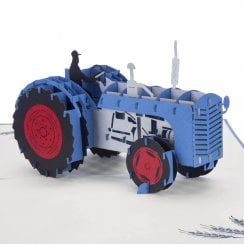 Blue Tractor Pop Up Card