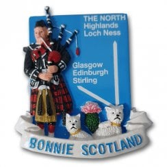 Bonnie Scotland Westies & Piper Resin Magnet