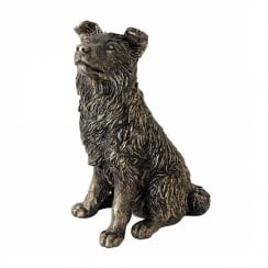 Border Collie Sitting Bronzed Effect Figurine