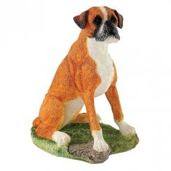 Boxer Sitting (Red & White) Figurine