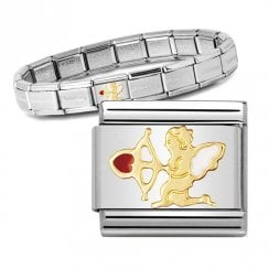Bracelet with Gold & Enamel Cupid Link