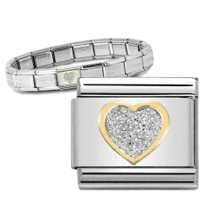 Bracelet with Gold & Enamel Glitter Heart