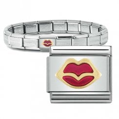 Bracelet with Gold & Enamel Lips Link
