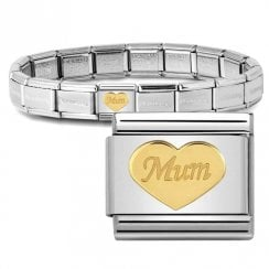Bracelet with Gold Mum Heart Link