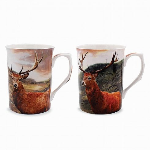 Leonardo Collection British Wildlife Stag Mugs Set Of Two