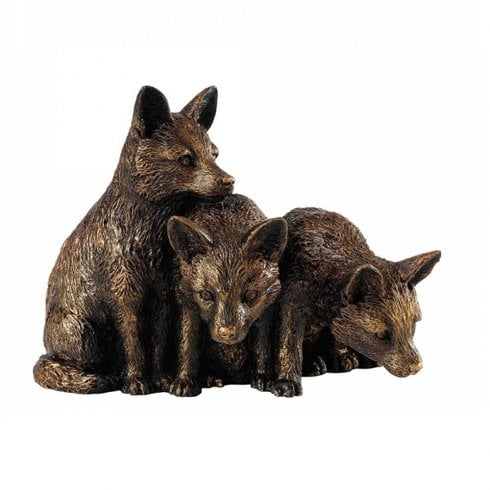 Border Fine Arts Bronzed Fox Cubs Figurine