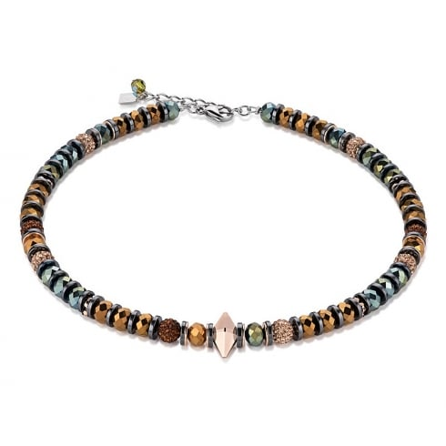 COEUR DE LION Brown-Olive Swarovski Crystal with Hematite Double Spike Necklace