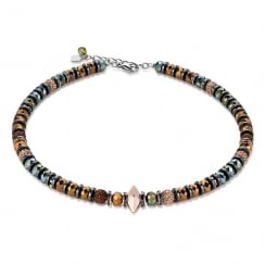 Brown-Olive Swarovski Crystal with Hematite Double Spike Necklace