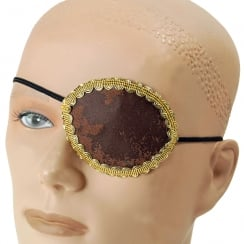Brown Pirate Eye Patch Gold Trim
