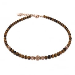 Brown Tigers Eye with Hematite Necklace
