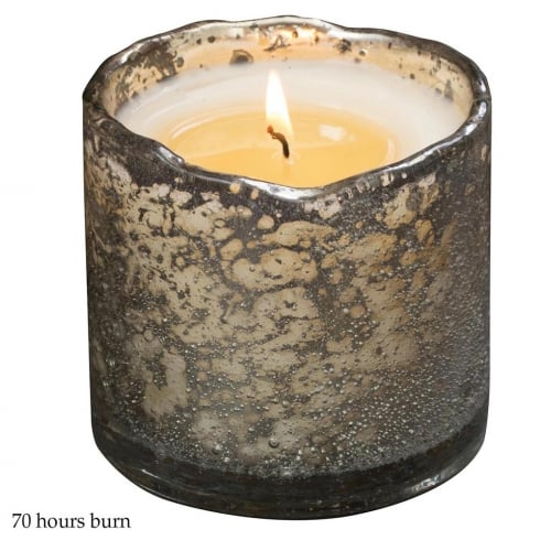 Himalayan Bubble Glass Silver Container with Cinnamon Tree Fragrance Candle