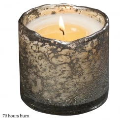 Bubble Glass Silver Container with Cinnamon Tree Fragrance Candle