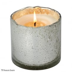 Bubble Glass Silver Container with Mediterranean Fig Fragrance Candle