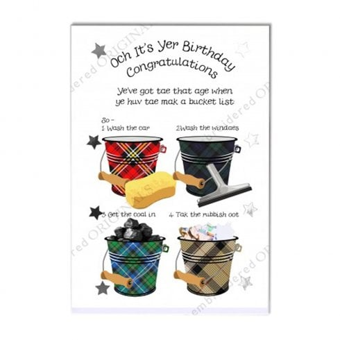 Embroidered Originals Bucket List Scottish Birthday Card