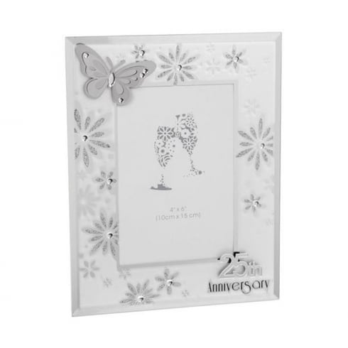 Shudehill Giftware Butterfly 25th Silver Wedding Anniversary 4 x 6 Photo Frame