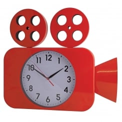 Camera Wall Clock Red