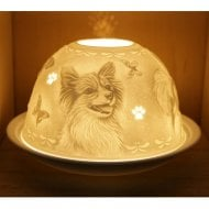 Candle Shade and Plate - Papillon Dog