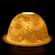 Candle Shade & Plate - Bird On Flower