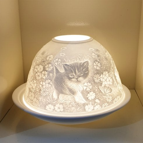 Nordic Lights Candle Shade & Plate - Cats