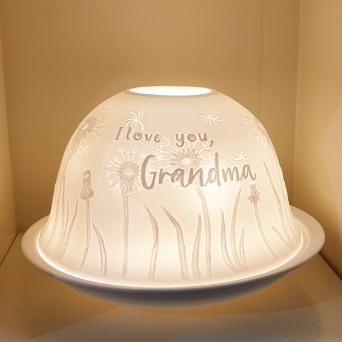 Nordic Lights Candle Shade & Plate - I love You Grandma