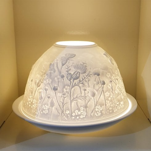 Nordic Lights Candle Shade & Plate - Scottish Thistle