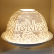 Candle Shade & Plate - Wedding Mr & Mrs
