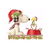 Candy Cane Christmas Woodstock & Snoopy Figurine