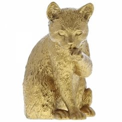 Cat Licking Paw Gold Figurine