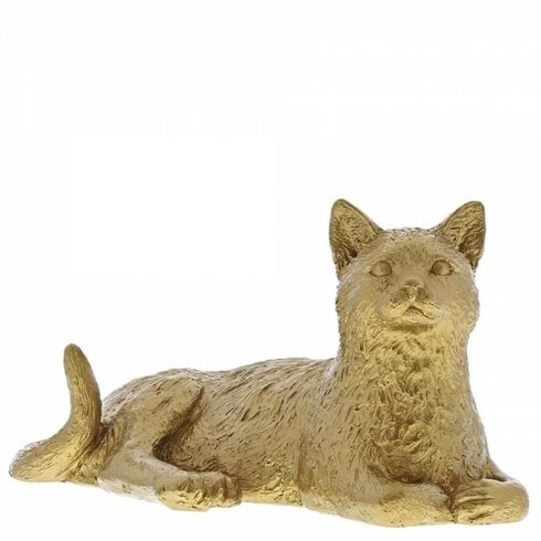 Border Fine Arts Cat Lying Down Gold Figurine