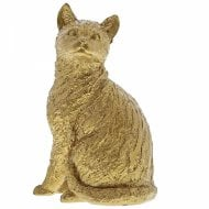 Cat Sitting Gold Figurine