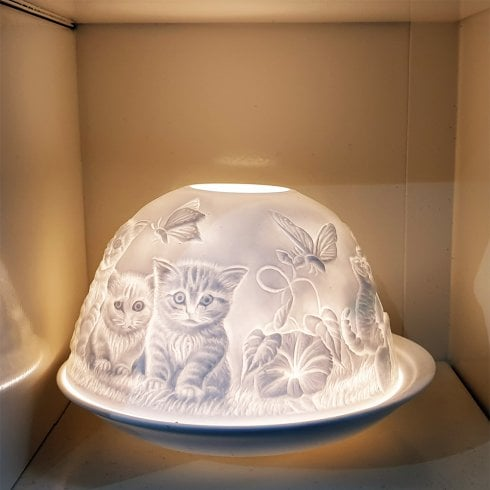 Nordic Lights Cats Design Tealight Candle Shade & Tray
