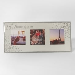 Celebrations Sparkle Triple 5 x 5 25th Anniversary Mirrored Photo Frame