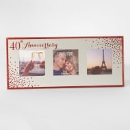 Celebrations Sparkle Triple 5 x 5 40th Anniversary Mirrored Photo Frame