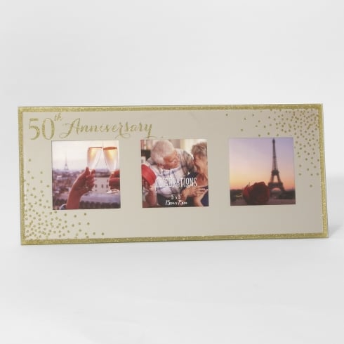 Celebrations Sparkle Triple 5 x 5 50th Anniversary Mirrored Photo Frame