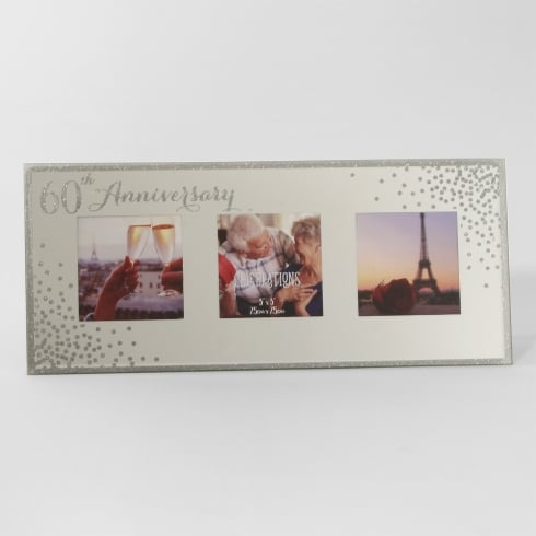 Celebrations Sparkle Triple 5 x 5 60th Anniversary Mirrored Photo Frame