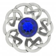 Celtic Interlace Dancers Plaid Brooch with Blue Stone