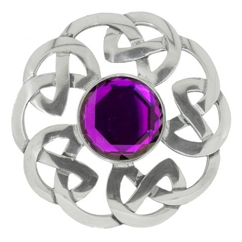 Art Pewter Celtic Interlace Dancers Plaid Brooch with Dark Amethyst Stone