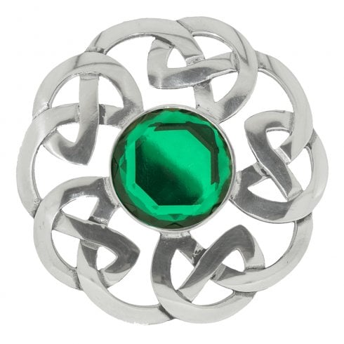 Art Pewter Celtic Interlace Dancers Plaid Brooch with Green Stone