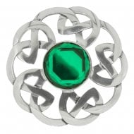 Celtic Interlace Dancers Plaid Brooch with Green Stone