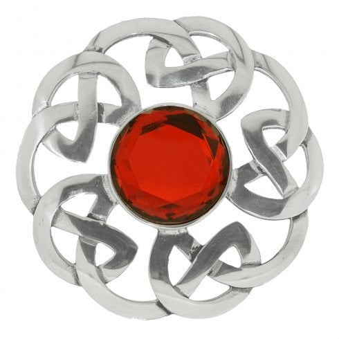 Art Pewter Celtic Interlace Dancers Plaid Brooch with Red Stone