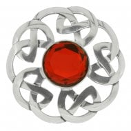 Celtic Interlace Dancers Plaid Brooch with Red Stone