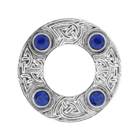 Art Pewter Celtic Knot Dancers Plaid Brooch with Blue Stone