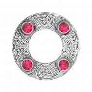 Celtic Knot Dancers Plaid Brooch with Cerise Stone