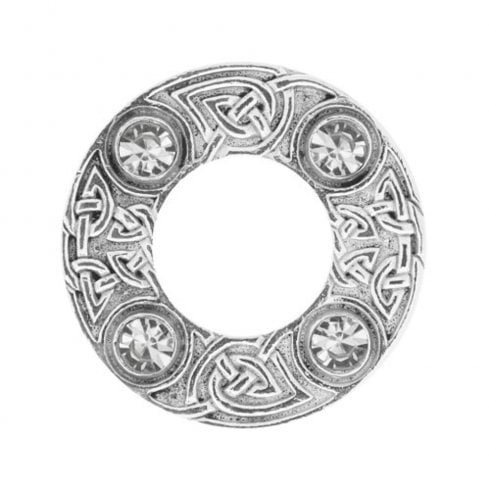 Art Pewter Celtic Knot Dancers Plaid Brooch with Crystal Stone