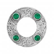 Celtic Knot Dancers Plaid Brooch with Green Stone