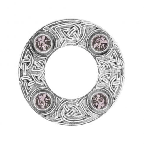 Art Pewter Celtic Knot Dancers Plaid Brooch with Light Amethyst Stone